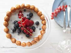 A berry charlotte with a yoghurt-quark cream