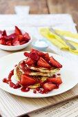 Strawberries and cream flourless ricotta pancakes