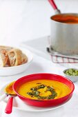 Roasted pumpkin soup with green goddess pesto