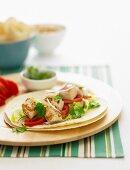 Fish Tortillas with salad