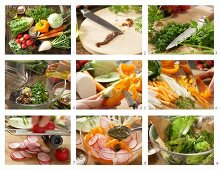 How to make a crudité salad of raw vegetables with a chervil and anchovy vinaigrette