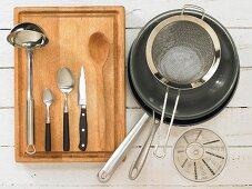 Kitchen utensils for preparing cupcakes with chutney