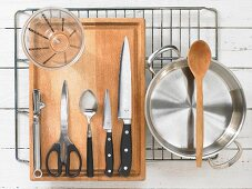 Kitchen utensils for the preparation of a classic Creole stew with langouste