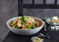 Penne with broccoli and three-nut pesto (vegetarian)