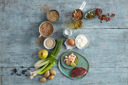 Basic ingredients for wholefood cuisine