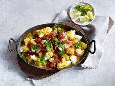 Quick and easy egg curry with potatoes and tomatoes