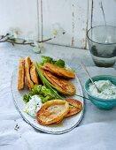Vegetarian lentil fritters with yoghurt dip and oak leaf lettuce (low carb)