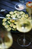 Grilled courgette and a glass of white wine