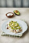 Focaccia with cottage cheese, avocado and balsamic vinegar