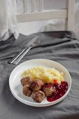 Kottbullar(traditional meatballs, Sweden) served with mashed potatoes and lingoberry jam