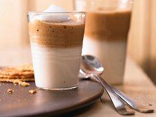 Latte macchiato served in a glass