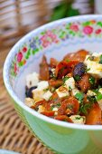 Carrot salad with feta and olives