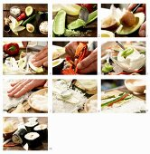 How to make maki sushi with cucumber, avocado, lettuce and peppers