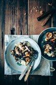 Celeriac puree, lentills, mushrooms, walnuts and fresh sage