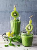 Green avocado and spinach smoothie with grapes