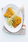 Asian-style schnitzel with a vegetable salad