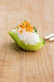 Cucumber sushi with salmon caviar