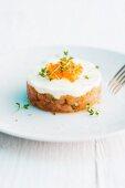 Salmon tartare with caviar and cress