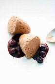 Whole milk mocha mousse with blueberries