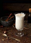 A masala chai latte in a glass