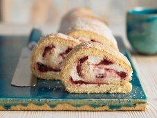 Cherry curd sponge roll