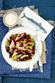 Beetroots and smoked trout salad with mustard cranberry sauce
