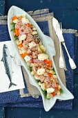 White bean, rocket, carrot, potatoes and tuna salad with mayo