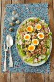 Salat mit Thunfisch, Ei, Gurke und Radieschen zu Ostern