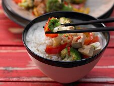 A broccoli wok dish with peppers, tofu and cashew nuts