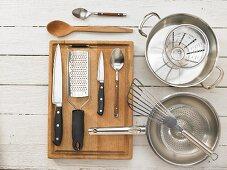 Kitchen utensils for making mushroom piccata with vegetables
