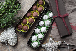 Spiced chocolate truffles as a Christmas gift