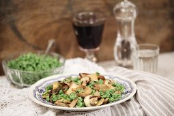Spinach spaetzle and mushrooms