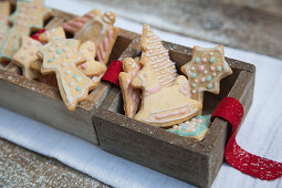 Gingerbread biscuits in wooden boxes