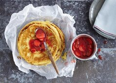 Crespelle with strawberry and rhubarb compote