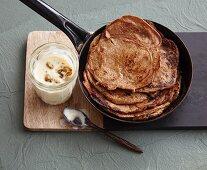 Vegan date pancakes with silken tofu cream