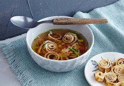 Pancake soup with vegetables (Swabia, Germany)