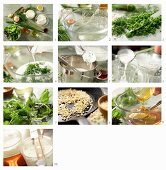 How to prepare a quark, buttermilk and herb terrine with colorful salads and almonds