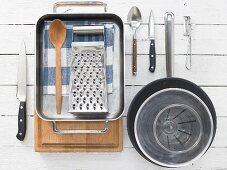 Kitchen utensils for making potato pancakes