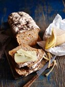 Sliced carrot and rye bread with cheese
