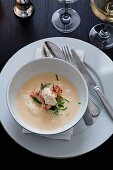 Seafood soup with crayfish cream
