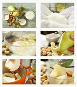 How to make pear compote with vanilla yoghurt and amaretti crumbs