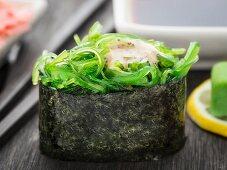 Close up of gunkan sushi with chuka