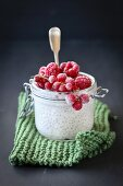 Raspberry, red currant and chia seeds pudding in jar for breakfast