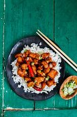 General Tso fried chicken with rice (China)