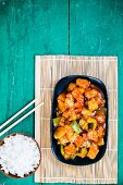 Sweet and sour pork with rice (China)