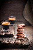 Chocolate macarons and espresso