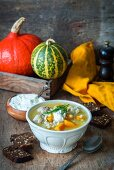 Pumpkin soup with turkey meatballs and pearl barley