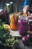 Fermented vegetables in preserving jars