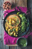 Dosa (pancake from fermented dough, India) with cauliflower