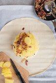 Puff pastry with camembert, bacon and potatoes (unbaked)